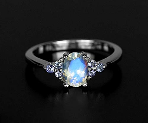 Wedding moonstone ring delicate rainbow moonstone for her tiny moonstone engagement 14K white gold December Birthstone Christmas gift wife (Gold Jewelry Tanzanite White Ring)