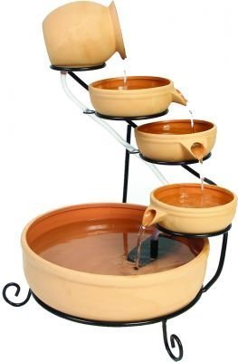 ASC Smart Solar Terracotta Sundance Ceramic Solar Water Fountain - Four-tiered solar fountain Operates in direct sunlight only; For battery/LED version, please check B0038Q0LQ6 Mounting: Free standing - patio, outdoor-decor, fountains - 31NsJk5U9OL -