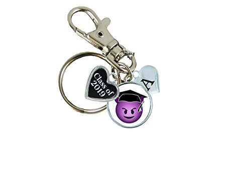 Price comparison product image Custom Class of 2019 Graduation Devil Face Emoji Key Chain Choose Initial Gift