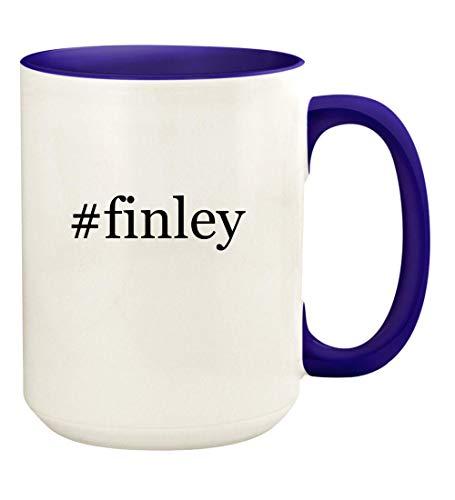 #finley - 15oz Hashtag Ceramic Colored Handle and Inside Coffee Mug Cup, Deep Purple