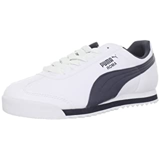 PUMA Men's Roma Basic Fashion Sneaker, White/New Navy - 9.5 D(M) US