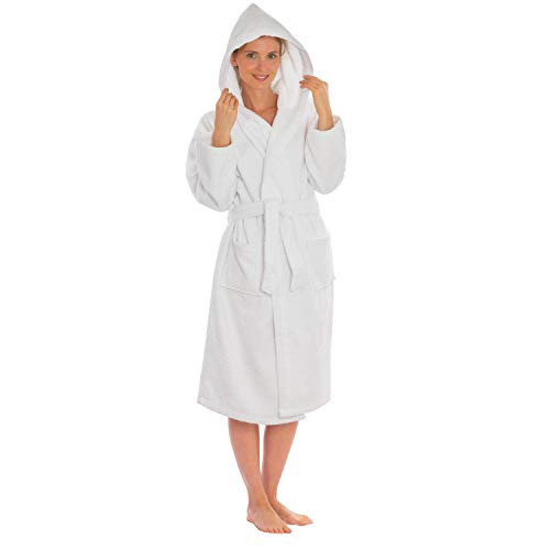 White Hood Clothing (Silken Kids Teenagers Boys Hooded Robe Unisex 100% Turkish Cotton Terry Bathrobe (X-Large 44