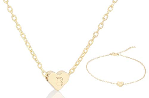 FYBLYCOO B Initial Necklace Anklet for Women - Tiny 14K Gold Filled Love Heart Charm Pendant Letter Necklace for Daughter Kids Mom Best Jewelry Gifts