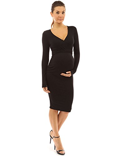 PattyBoutik Mama V Neck Tie Bow Maternity Dress (Black M)