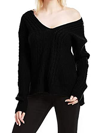 Ayans Women's Loose Fitted Asymmetric Hem Wrap Knit Sweaters with Crossing Back Black S