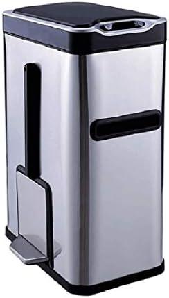 ゴミ袋 ゴミ箱用アクセサリ 家庭用ごみ箱ホームオフィスのバスルームフリップステンレススチール収納バケツ キッチンゴミ箱 (Color : Silver)