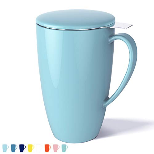 Sweese 2101 Porcelain Tea Mug with Infuser and Lid, 15 OZ, Turquoise (Leaf Teacup Loose)