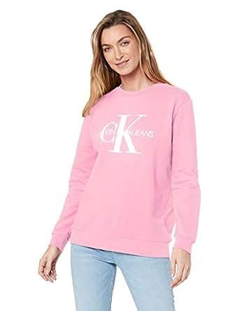 Calvin Klein Jeans Women's Monogram Logo Sweatshirt, Begonia Pink, S
