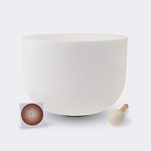 TOPFUND Crystal Singing Bowl C Note Root Chakra 14 inch (O-ring and Rubber Mallet Included)