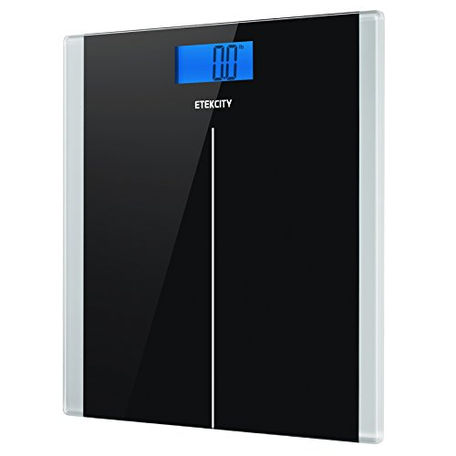Etekcity Digital Body Weight Bathroom Scale with Step-On Technology, 400 Pounds, Body Tape Measure Included, Elegant Black (Scale Thinner)
