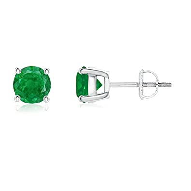 Angara Four Prong Set Emerald Stud Earrings in Platinum tB8hD3gfg4