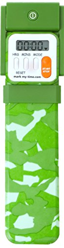 Mark-My-Time Green Camouflage LED Book Light with Digital Bookmark and Reading Timer