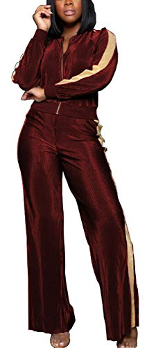 (Women Casual Loose 2 Pieces Outfits Velvet Long Sleeve Active Tracksuits Zipper Stripes Wide Leg High Waist Long Pants Jumpsuits Sweatsuit Sports Burgundy)