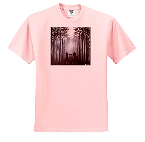 Art by Mandy Joy - Trees - A Painting of a Couple Walking in a Foggy Forest, Holding Hands. - T-Shirts - Toddler Light-Pink-T-Shirt (3T) (ts_287463_48) by 3dRose