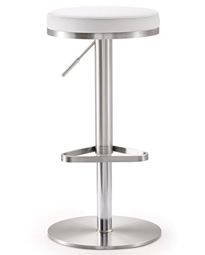 (Tov Furniture The Fano Collection Adjustable Height Backless Swivel Stainless Steel Metal Industrial Bar Stool, White)