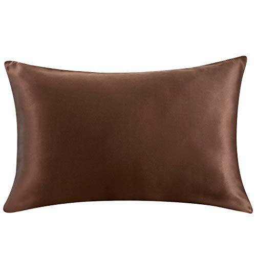 ZIMASILK 100% Mulberry Silk Pillowcase for Hair and Skin Health,with Hidden Zipper,Both Side 19 Momme Silk,1pc (Standard20''x26', Chocolate) ()