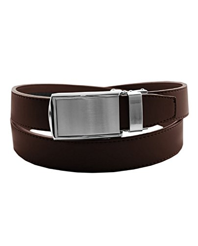 Eurosport Men's Genuine Leather Ratchet Dress Belt with Automatic Buckle - DS7869 - Brown 29-30