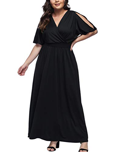 KUREAS Women's Plus Size Mother of The Bride Skater Dress Bridal Wedding Party Maxi Long Dress (Mother Of The Bride Cold Shoulder Dress)