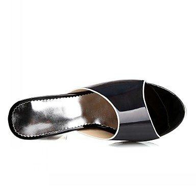 LvYuan Mujer-Tacón Robusto-Confort Innovador-Sandalias-Boda Oficina y Trabajo Vestido Informal Fiesta y Noche-Sintético Semicuero PU-Negro Plata Silver