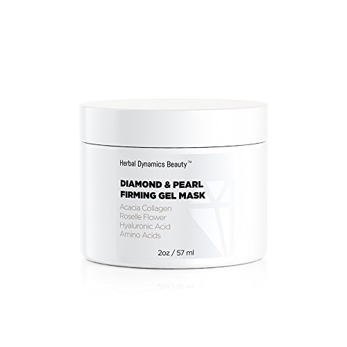 HD Beauty Diamond + Pearl Firming Gel Mask with Anti-Aging Acacia Collagen, Roselle Flower, Hyaluronic Acid, and Amino Acids to Revive Dull Looking Skin and Enhance Radiance, 2.0 oz.