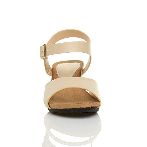 Damen Mittlere Keilabsatz Peep Toe Schuhe Knöchel-/Fesselriemen Schnalle Bequem Fußbett Plateausandale Größe Beige
