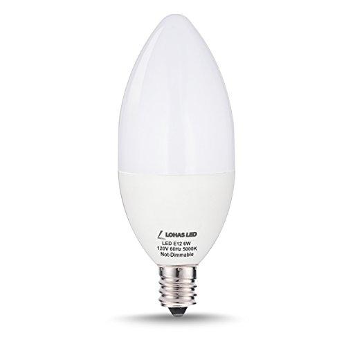 LOHAS® 6watt LED Candle Light Bulb E12 Base, 60W Equivalent Candelabra Bulbs, Daylight White 5000k, 550lm, 180 Degree Beam (Not-Dimmable)