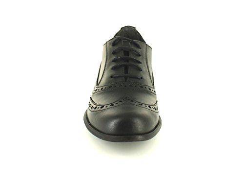 Zapatos mujer negros piel cordones cuero calado a147b8c16520