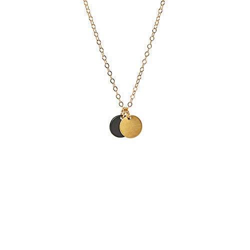 Solar Eclipse Brass and Black 14k Gold-fill Necklace - Tigers Eye Geometric Necklace
