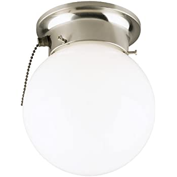 Amazon design house 519264 1 light ceiling light with pull westinghouse 6720800 one light flush mount interior ceiling fixture with pull chain brushed nickel finish with white glass globe aloadofball Image collections