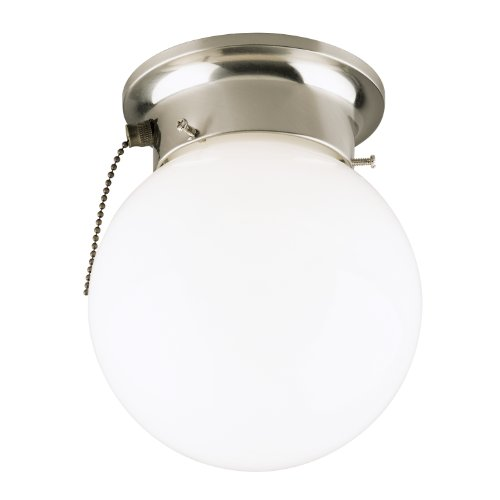 Westinghouse Lighting 6720800 One-Light Flush-Mount Interior Ceiling Fixture with Pull Chain, Brushed Nickel Finish with White Glass - Fixture Chain