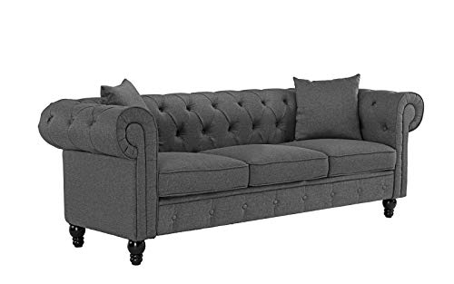 - Classic Linen Fabric Scroll Arm Tufted Button Chesterfield Style Sofa (Light Grey)