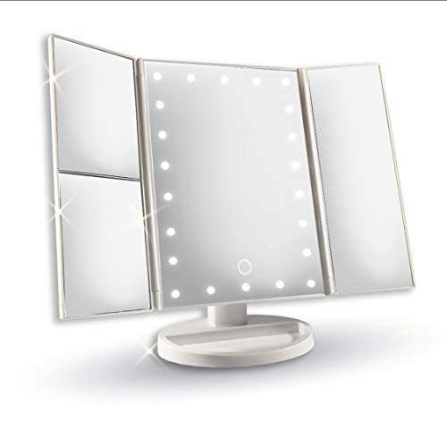 LED Lighted Mirror, with 22 LED Lights, Makeup Mirror, with 2x/3x Magnifier, Makeup Accessories, 180° Adjustable Rotation, Lighted Makeup Mirror, White by Amazed Forever