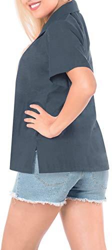 Manga Blusa Encubrir La De Playa Camisa Costume Superior Ropa Damas Collar Con Corta Gris Botones Hawaiana Leela x532 Halloween ww4zP6