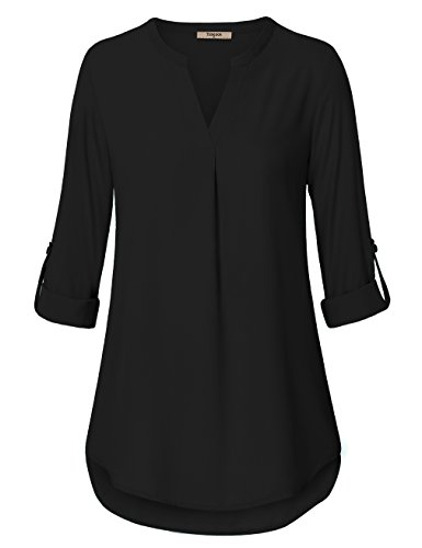 Timeson Blouse for Womens, Women's Casual Chiffon V Neck Cuffed Sleeve Blouse Tops (Medium, Black)