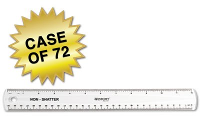 Westcott 500-13862 Non-Shatter Ruler, 12-Inch Length, Clear, Case of 72 (13862)