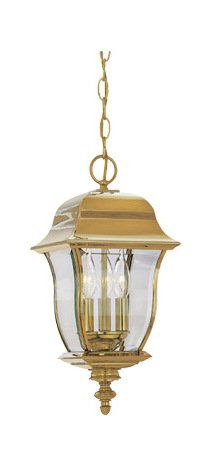 Polished Brass PVD finish 3 Light 10in. Hanging Lantern Solid Brass PVD from the Gladiator Collection by Designers Fountain