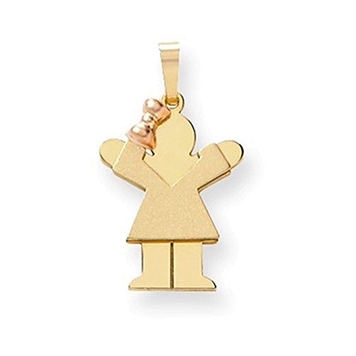 14k Two-Tone Small Girl on Left Engravable Charm by Jewelry Adviser Charms