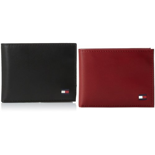 Tommy Hilfiger Men's Leather Dore Passcase Billfold Wallet with Removable Card Holder, Black/Red