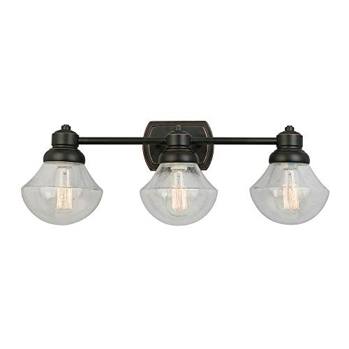 - Design House 577874 Sawyer Three Vanity Light, Oil Rubbed Bronze, 3-Light, 3-Light