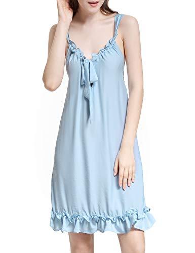 (RIKILIO Women's Nightgown Nightdress Sleeveless Ruffle Dress Princess Nightdress (Blue,L))