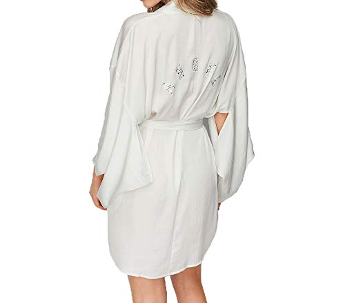 (Victoria's Secret Dream Angels New! Rhinestone Short Satin Kimono Medium/Large White)