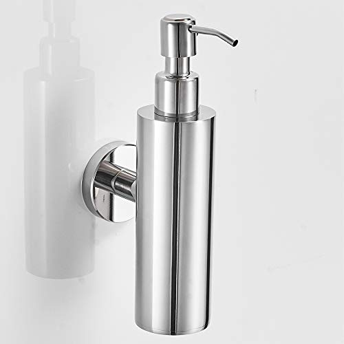 VELIMAX 18/8 Stainless Steel Liquid Soap Dispenser Hand Soap Dispenser Shampoo Lotion Pump Dispenser Wall Mount for Bathroom Kitchen Round Polished (Mount Wall Dispenser Chrome Soap)
