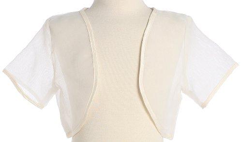 Girl's Ivory Sheer Organza Bolero Jacket - Size S (5-6X) by Lito