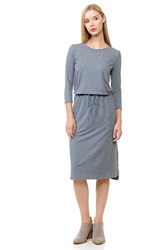 iconic luxe Women's Relaxed Midi Dress with Elastic Waist Small Heather - Two Dress Tone Jersey