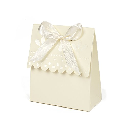 Saasiiyo 12 Pieces/lot Scalloped-Edge Ivory Paper Gift Box Wedding Favor Boxes Wedding Candy Box Party Favors And Gifts Packaging (Cookie Monster Costume Pattern)