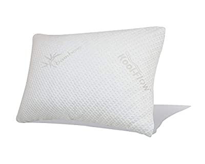 Snuggle-Pedic Ultra-Luxury Bamboo Pillow with Kool-Flow Breathable Cooling Hypoallergenic Pillow Outer Fabric Covering (No Zippers)
