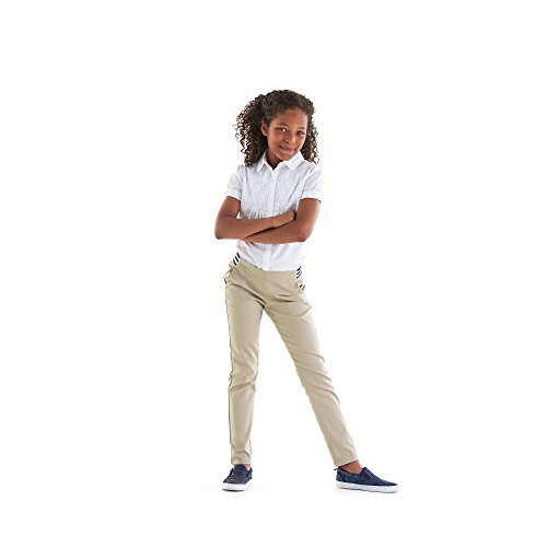French Toast Girls' Big Stretch Contrast Elastic Waist Pull-on Pant, Khaki, 7 by French Toast (Image #5)