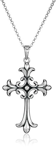 Sterling Celtic Cross - Sterling Silver Oxidized Celtic Cross Pendant Necklace, 18