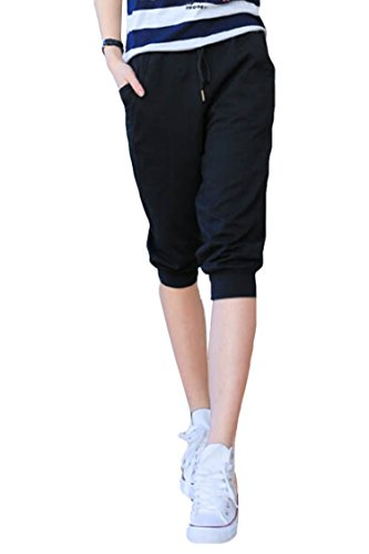 Pink Queen Women's Casual Drawstring Cuffed Cropped Pants Capri Joggers Style 2-black XX-Large (Cuffed Black Cropped Pants)