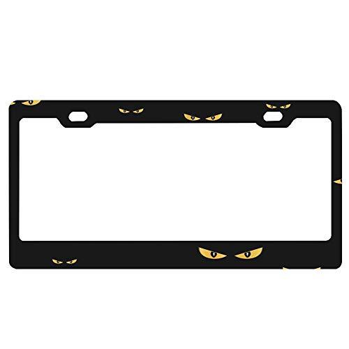 ASLGlicenseplateframeFG Silinana Spooky Monster Eyes in The Dark Halloween Pattern Car Decor Metal License Tag Plate Cover - 12